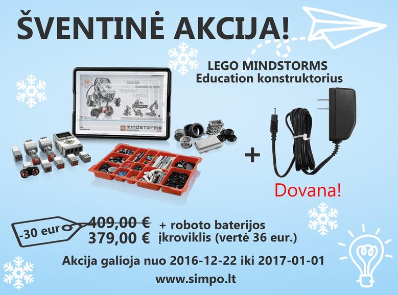 Nuo gruodžio 23 iki sausio pirmos dienos visiems perkantiems EV3 robotą, įkroviklis dovanų